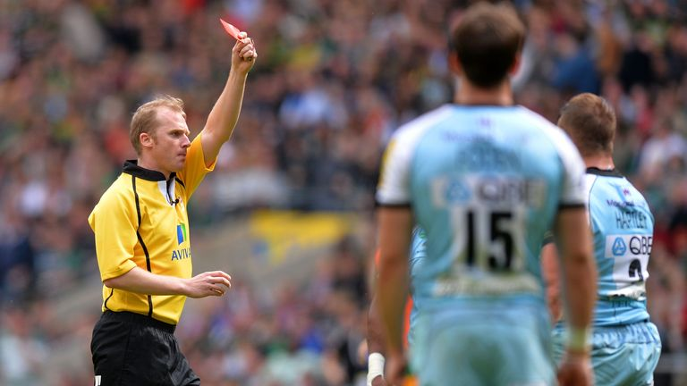 Referee Wayne Barnes red carded Dylan Hartley in the 2013 Premiership final for abusive language in his direction