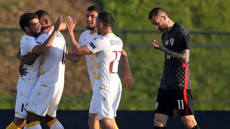 Armenia celebrate Wbeymar Angulo's second-half leveller