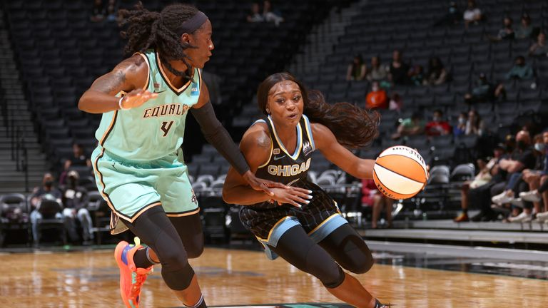 Dana Evans #11 of the Chicago Sky dribbles the ball against the New York Liberty on June 22, 2021 at Barclays Center in New York, NY.