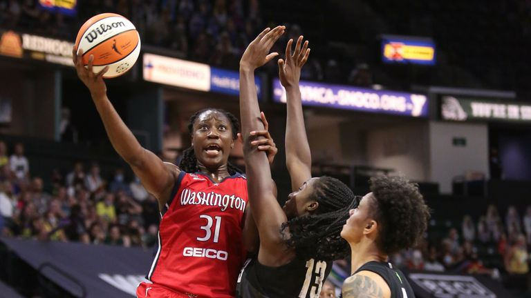 JUNE 22: Tina Charles #31 of the Washington Mystics drives to the basket against the Seattle Storm on June 22, 2021 at Angel of the Winds Arena, Everett, WA.