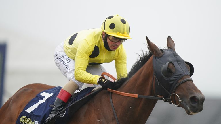 NEWCASTLE UPON TYNE, ENGLAND - JUNE 26: Zeeband ridden by Andrea Atzeni on their way to winning the William Hill Pick Your Places Northumberland Vase Handicap race, during the William Hill Northumberland Plate Day at Newcastle Racecourse on June 26, 2021 in Newcastle upon Tyne, England. (Photo by Tim Goode - Pool/Getty Images)