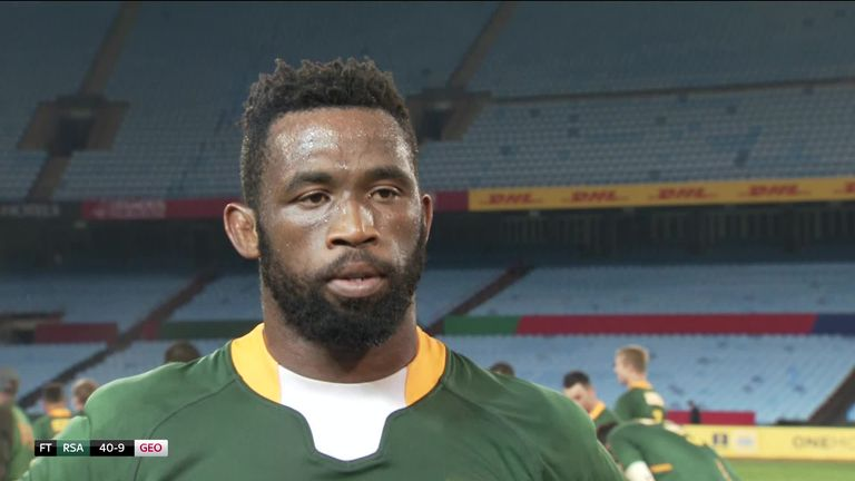 Siya Kolisi says the team want to bring joy to the fans during a 'difficult time' for the country, after leading the Springboks to a 40-9 win over Georgia