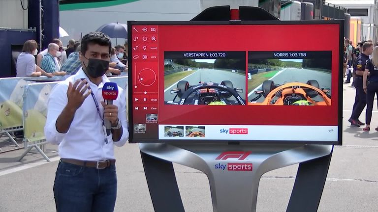 Karun Chandhok takes a closer look at Max Verstappen and Lando Norris' laps in Q3.