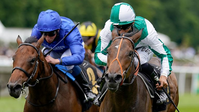 Sean Levey riding Ardbraccan (green/white) to win at Newmarket