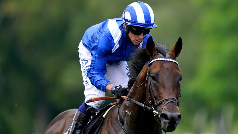 Baaeed ridden by Jim Crowley wins the Edmondson Hall Solicitors Sir Henry Cecil Stakes during Ladies Day of the 2021 Moet and Chandon July Festival at Newmarket racecourse. Picture date: Thursday July 8, 2021.