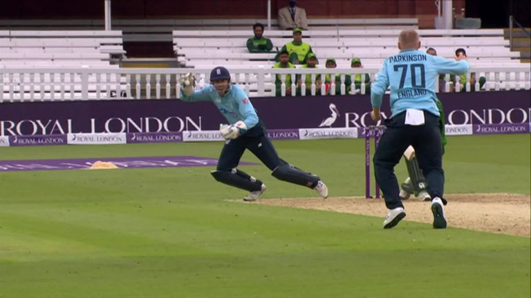 What a catch! Wicketkeeper John Simpson showed brilliant anticipation to catch Faheem Ashraf on the sweep at Lord's