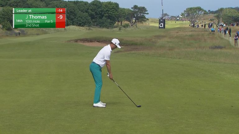 Justin Thomas suffered an embarrassing moment on day three of the Scottish Open as he topped his second shot straight into a bunker a few yards in front of him