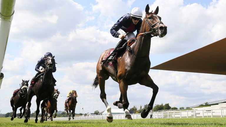 Insinuendo ridden by jockey Billy Lee wins the Kilboy Estate Stakes (Group 2) at Curragh Racecourse.