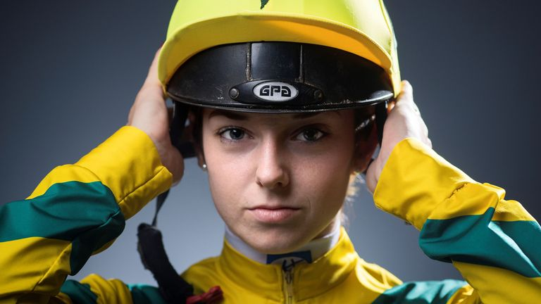 French jockey Mickaelle Michel poses during a photo session in Paris, 2018