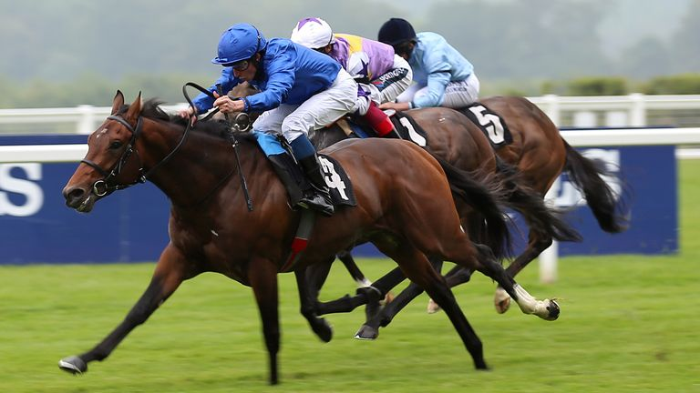 New Science (left) ridden by jockey William Buick on their way to winning the Pat Eddery Stakes at Ascot