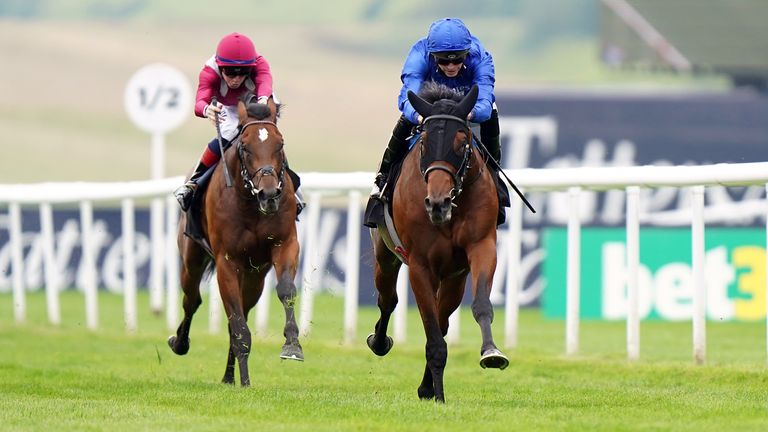 Noble Truth ridden by jockey James Doyle wins at Newmarket