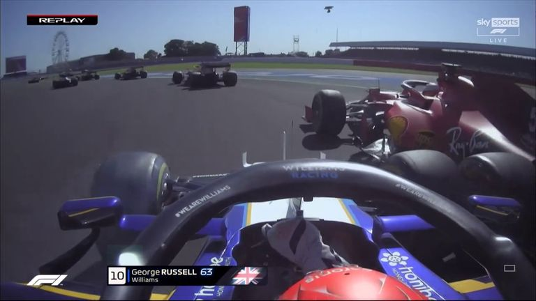 Watch the clash between George Russell and Carlos Sainz on the opening lap of the F1 Sprint, plus the other early wheel-to-wheel moments