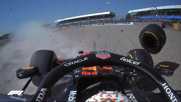 Max Verstappen hit the barriers after colliding with Lewis Hamilton during the first lap of the British GP, resulting in a red flag.