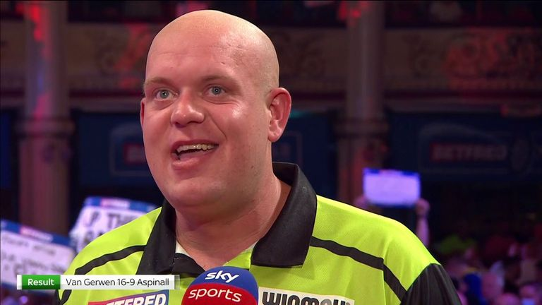 Michael van Gerwen says he is 'over the moon' that he won but was not happy with his game after defeating Nathan Aspinall at the World Matchplay
