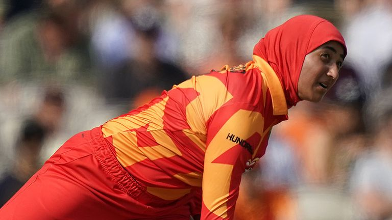 Birmingham Phoenix's Abtaha Maqsood during The Hundred match at Old Trafford, Manchester.