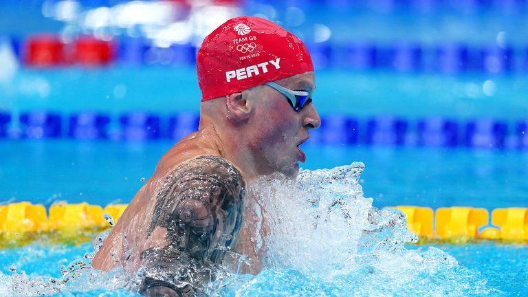Great Britain's Adam Peaty in action during the Men's 100m Breaststroke second semi final at the Tokyo Aquatics Centre on the second day of the Tokyo 2020 Olympic Games in Japan