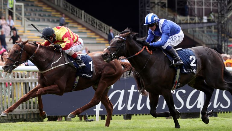 Al Aasy (blue silks) is beaten by Sir Ron Priestley in the Princess of Wales's Stakes at Newmarket