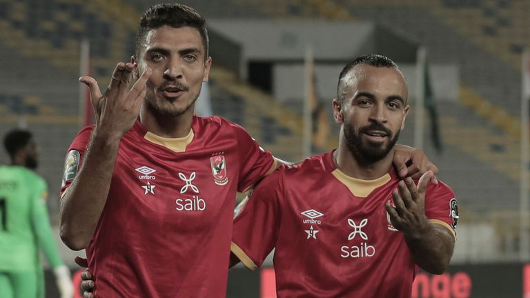 17 July 2021, Morocco, Casablanca: Al Ahly's Mohamed Magdy Afsha (R) celebrates scoring his side's second goal with team mate Mohamed Sherif during the CAF Champions League Final soccer match between Kaizer Chiefs FC and Al Ahly SC at Mohamed V Stadium. Photo by: Stringer/picture-alliance/dpa/AP Images
