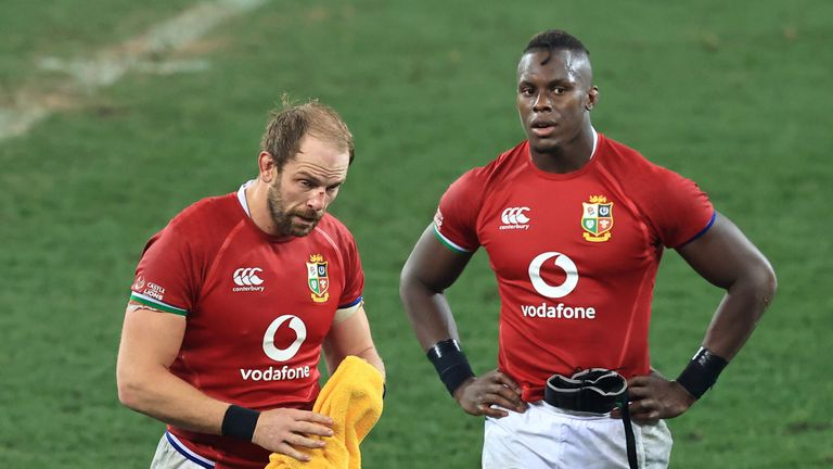 Alun Wyn Jones and Maro Itoje look dejected after losing the second Test to South Africa