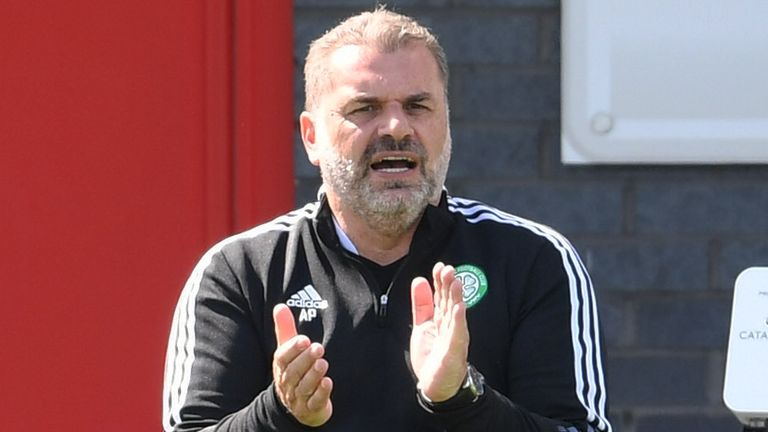 NEWPORT, WALES - JULY 07: Celtic manager Ange Postecoglou during a pre-season friendly between Celtic and Sheffield Wednesday at Dragons Park on July 07, 2021, in Newport, Scotland.  (Photo by Craig Foy / SNS Group)