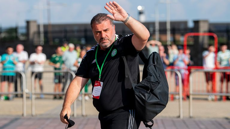 GLASGOW, SCOTLAND - JULY 20: Celtic Manager Ange Postecoglou arrives during a Champions League qualifier between Celtic and FC Midtjylland at Celtic Park on July 20, 2021, in Glasgow, Scotland (Photo by Ross Parker / SNS Group)