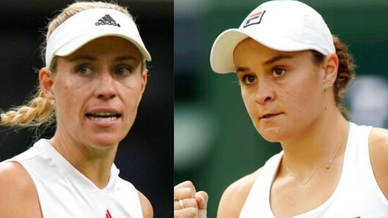 Angelique Kerber and Ashleigh Barty will battle it out for a place in the Wimbledon women's singles final