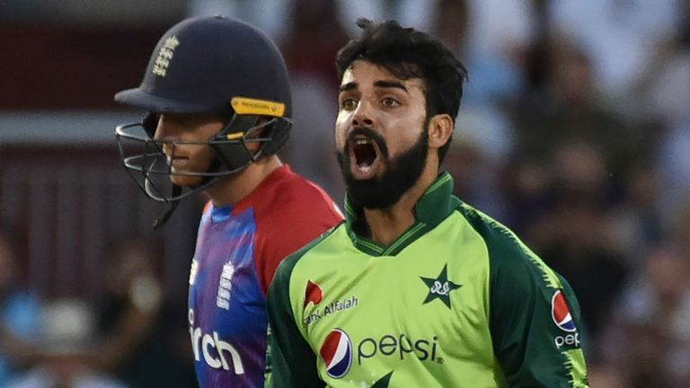 Shadab Khan dismissed Jos Buttler as Pakistan's spinners dominated the middle overs