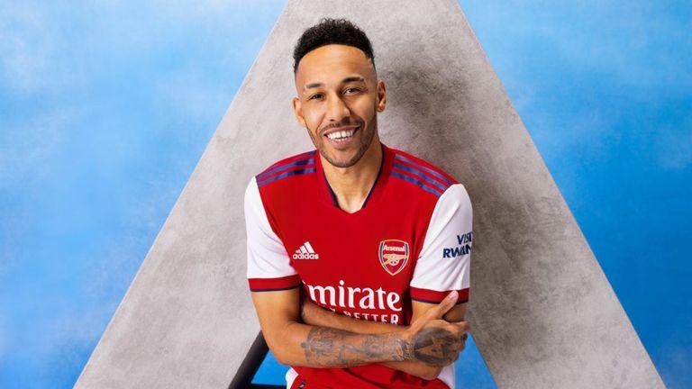 Pierre-Emerick Aubameyang models Arsenal's new home kit (Credit: Adidas)