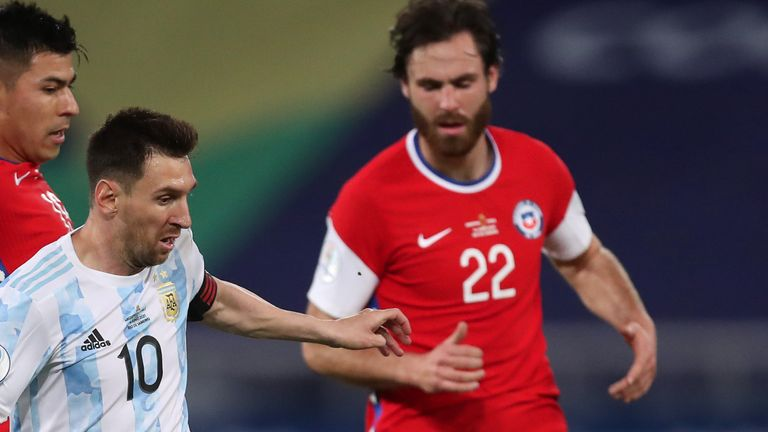 Ben Brereton came up against Lionel Messi when Chile faced Argentina at this summer's Copa America