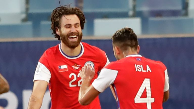 Ben Brereton celebrates scoring his first goal for Chile against Bolivia at this summer's Copa America
