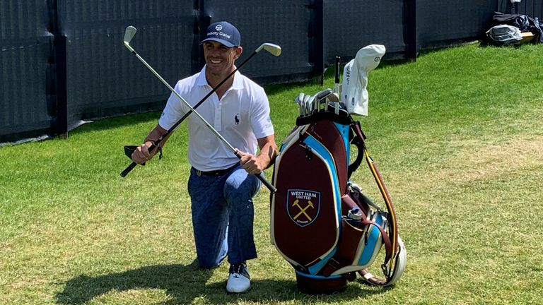Horschel with his West Ham-themed golf bag ahead of The Open