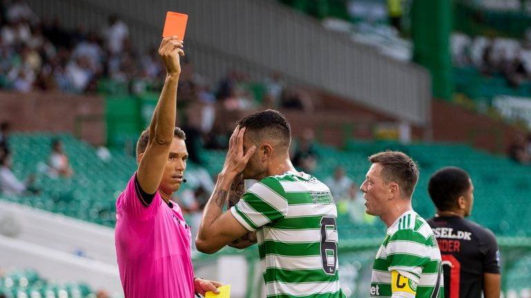 Nir Bitton is red carded during a Champions League qualifier between Celtic and FC Midtjylland at Celtic Park