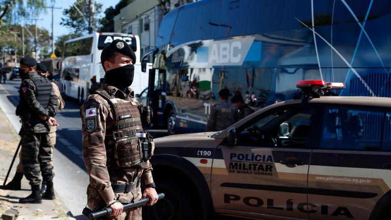 Boca Juniors team bus parked outside police station in Brazil (AP)