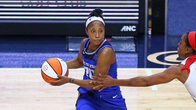 Connecticut Sun guard Briann January defended by Atlanta Dream forward Monique Billings during a WNBA game between Atlanta Dream and Connecticut Sun
