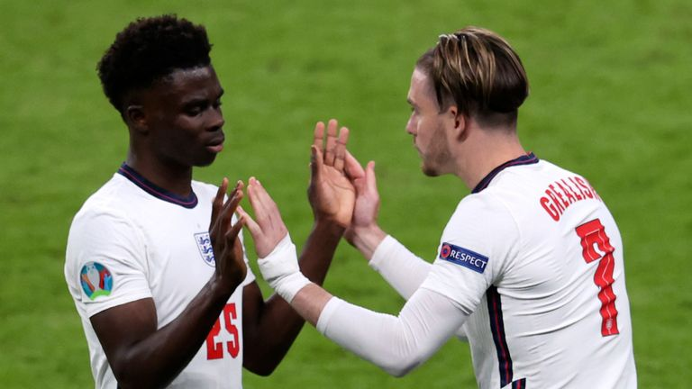 Jack Grealish replaced Bukayo Saka for England