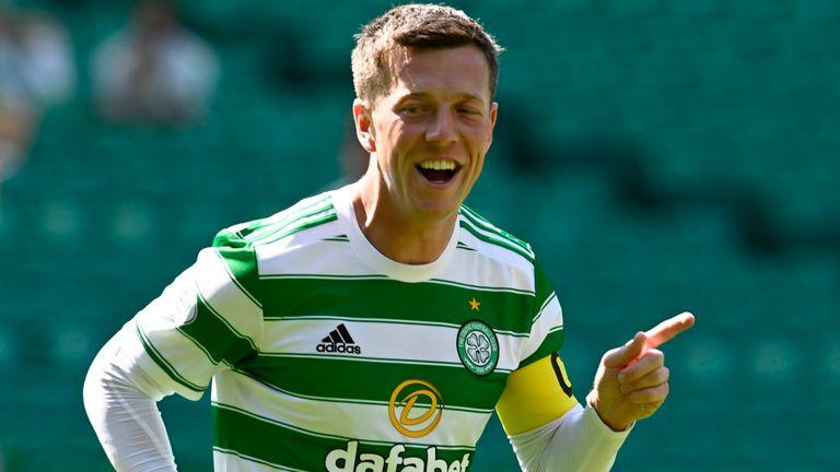 Celtic's Callum McGregor celebrates his opener against West Ham