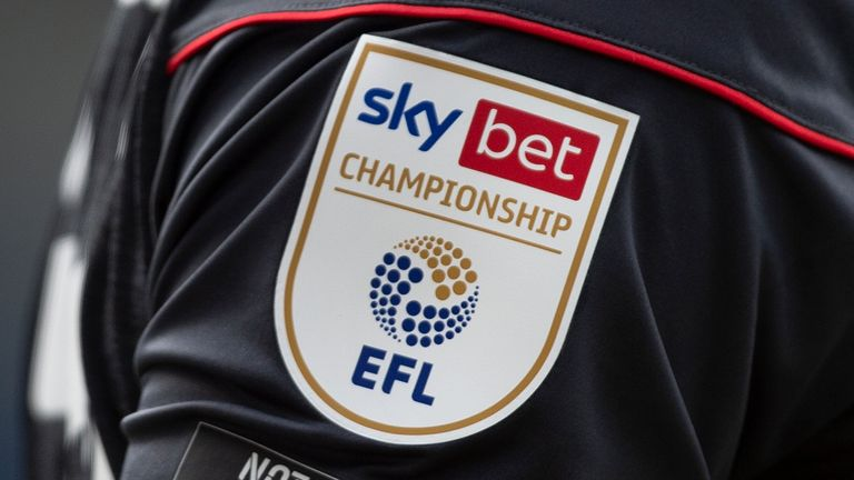 The official Sky Bet EFL Championship badge on the sleeve of a player above the anti racist slogan  ...NOT TODAY OR ANY DAY... during the Sky Bet Championship match between Huddersfield Town and Brentford at John Smith's Stadium on April 3, 2021 in Huddersfield, England
