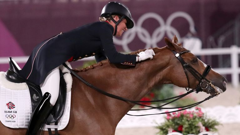25 July 2021, Japan, Tokio: Equestrian Sport/Dressage: Olympia, Preliminary Competition, Individual, Grand Prix, Baji Koen Equestrian Park. Charlotte Dujardin from Great Britain rides the horse Gio. Photo by: Friso Gentsch/picture-alliance/dpa/AP Images