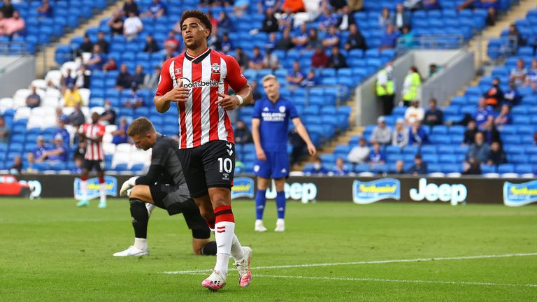 Che Adams was at the double as Southampton strolled to a 4-0 win at Cardiff