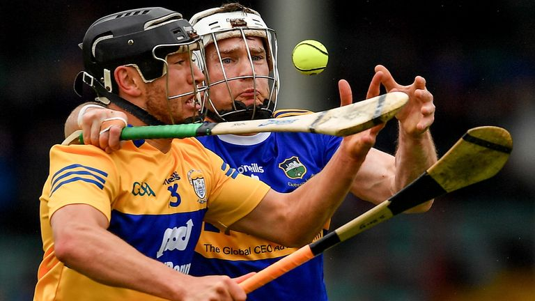 David Reidy of Clare in action against Brendan Maher of Tipperary