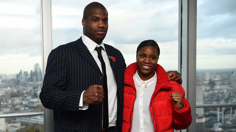 Daniel Dubois and Caroline Dubois during the press conference at BT Tower, London. PA Photo. Picture date: Monday November 11, 2019. Photo credit should read: Kirsty O'Connor/PA Wire