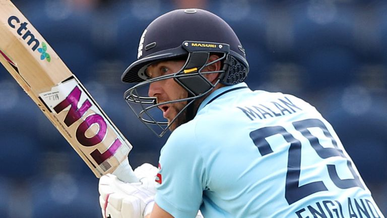 Dawid Malan reached his fifty of as any balls as England cruised to their victory target
