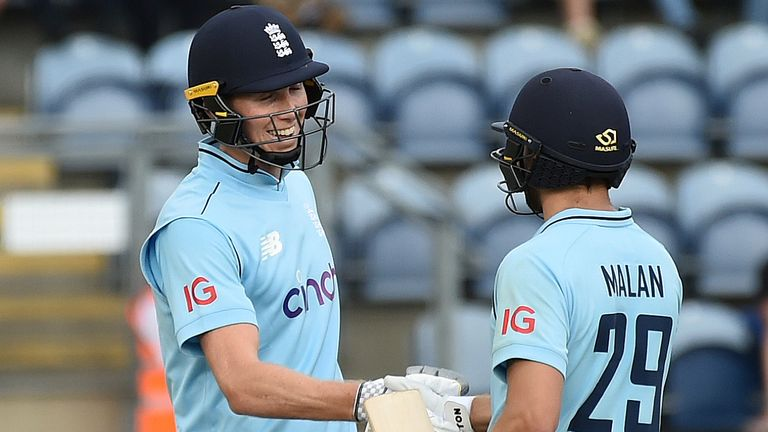 Zak Crawley and Dawid Malan scored unbeaten half-centuries in Cardiff as England reached their target of 142 inside 22 overs