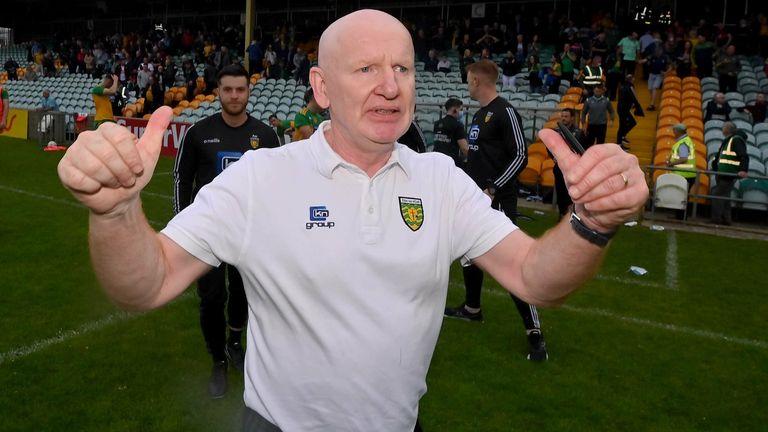 Declan Bonner celebrates at full-time