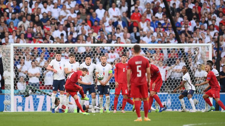 Pickford loses sight of the ball at the moment Damsgaard makes contact