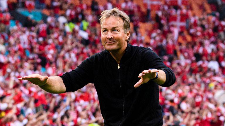 Denmark's head coach Kasper Hjulmand salutes their fans at Euro 2020