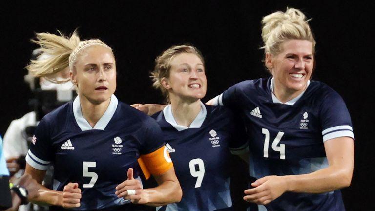 Ellen White, centre, celebrates scoring her second goal for Team GB vs Chile