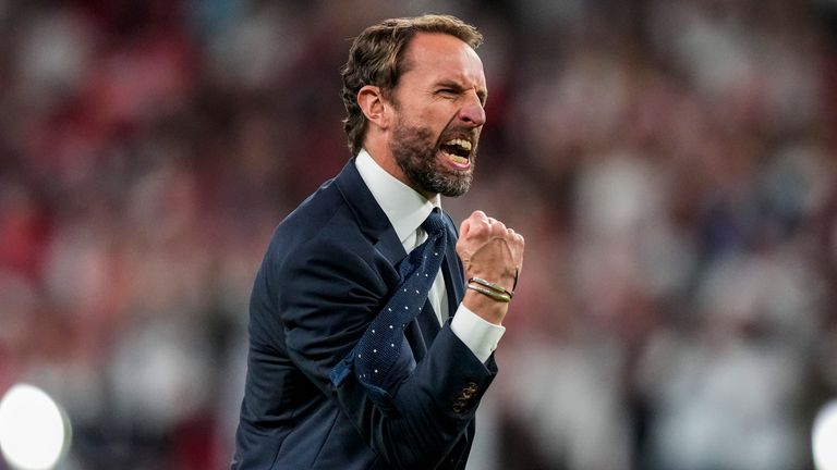 England manager Gareth Southgate celebrates the victory over Denmark