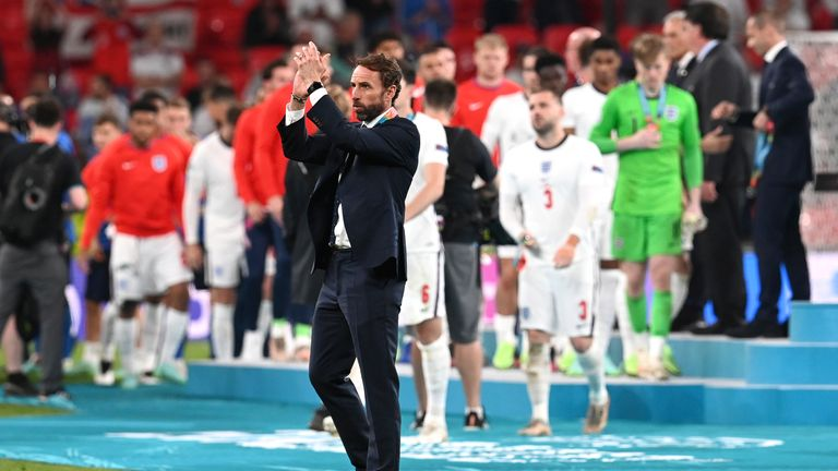 England's manager Gareth Southgate applauds after the Euro 2020 soccer championship final match between England and Italy at Wembley