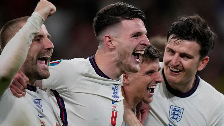 England's players celebrate reaching the final of Euro 2020 after beating Denmark 2-1 in Extra Time.